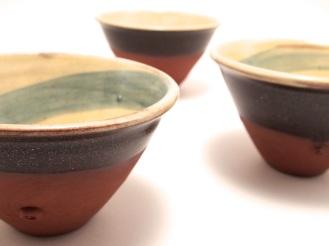 Slipware bowls with cobalt brushwork